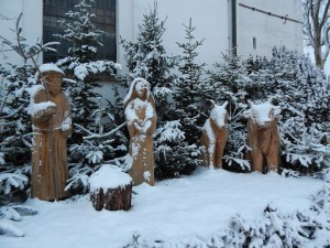 Krippe im Schnee